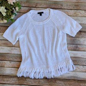 New J. Crew White Fringe Short Sleeve Sweater